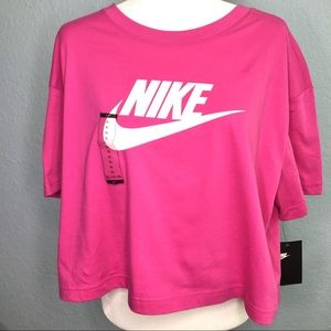 NWT Nike Crop Top Spellout Pink Short Sleeve XL